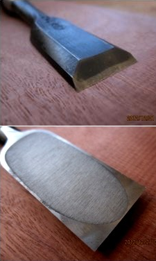 Image of the front and back of a Japanese chisel showing the distinctive laminated construction and hollowed back