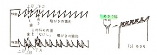 Illustration showing the shape of the saw teeth. The teeth cut on the pull stroke so have a flat edge facing the user and the back of the tooth is curved or angled