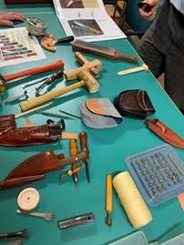 Picture of the tools used by Dale in his leatherworking